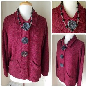 Willow by Anthropologie Red Chunky Knit Cardigan